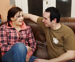 The guy fucks his fleshy chick in a cottage.