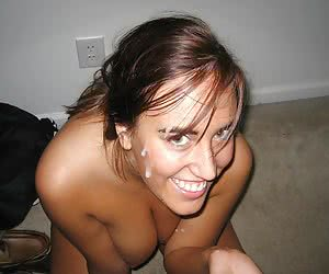 A babes giving a blowjob and taking a facial gallery