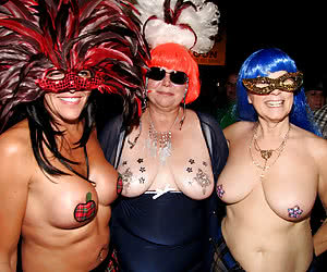 Crazy semi-nude grannies at an adult carnival party
