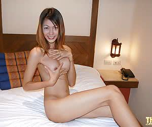 Very sweet thai shemale with great tits posing naked
