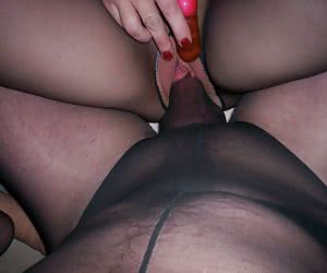 Couple in black pantyhose loves nylon fuck