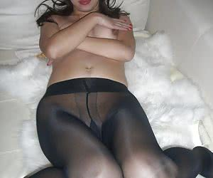 Private photos of asian wife in black nylons