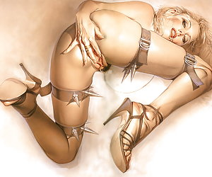 Different blonde pinup ladies pleasuring themselves