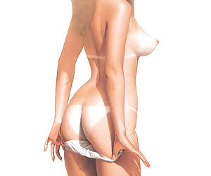 Smiling blonde pinup girl poses in wet white shirt