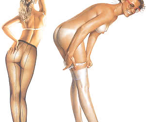 Two hot pinup girls wearing silky hosiery