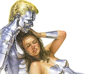 Various sketches of highly erotic and seductive robot and android women