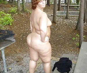 Fat older women in forest showing their asses