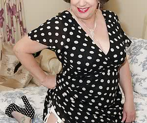 Hi Guys For This Hot Photoset Auntie Trisha was wearing her Polkadot dress with matching shoes and underneath her new 12