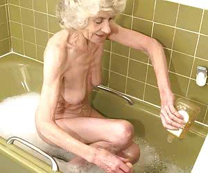 very old granny taking a bath