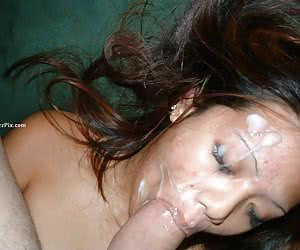 Girlfriend gets facialized after sucking cock