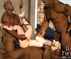 Attractive elven warrior get punked in the mouth by two thick disgusting dicks and takes cumshots