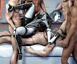 Mass Effect chicks giving a head job and gets plugged by cock
