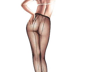Beautiful blonde pinup girls shows her ass in black pantyhose