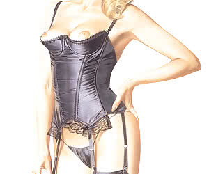 Classy blonde pinup girl shows her fantastic body in expensive lingerie