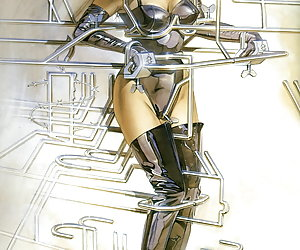 Hot pinup ladies attached to bizarre cyborg machines