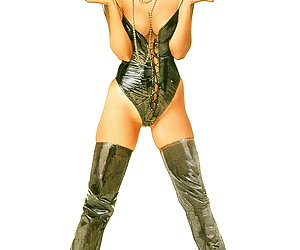 Kinky pinup brunette lady in black high boots and corset