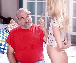 Young freckled girl spanked hard by old daddy