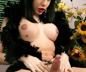 Dark-haired shemale hottie posing all naked with a black feather boa