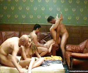 Amorous swingers doing crazy things in private party