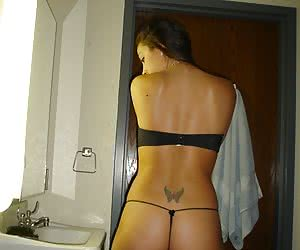 Nasty amateur photos featuring girlfriends posing in thongs