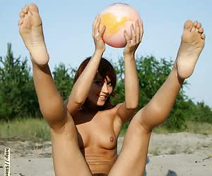 Barely legal teenie getting nasty and playing volleyball in the nude