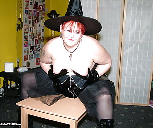A witch just has to have a little bit of naughty Halloween fun, and with her own special broomstick.