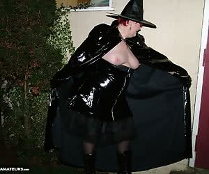 The last in my witchy set shows me flashing all my neighbours just before I ride off on my broomstick.