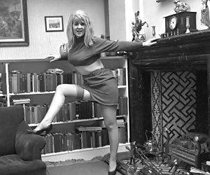 Amazingly sexy blonde chick poses in her retro lingerie in the library and some other places