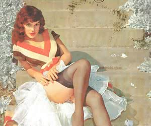 Amazingly sexy retro lingerie pictures featuring playful ladies pose in and without bras on camera