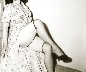 Incredibly hot women who love wearing retro lingerie pose and show their beauty and delights
