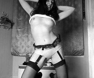 Irresistibly sexy gals in retro lingerie show off not only their sexy legs but their nice tits as well