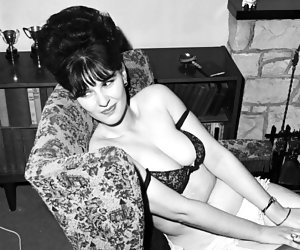 Neat brunette with a set of nice tits wants to pose in vintage lingerie once again right away