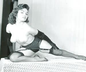 These hotties appear in bras and topless but each of them wears really sexy vintage lingerie now