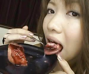 kinky girls eating their food with cum