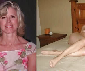 Two state of blonde mature chick